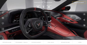 - The Corvette Visualizer is fully interactive, with available Stingray trims and custom combinations including exterior and interior colors, seats, wheels and even seat belt colors.